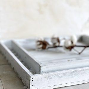 דקורציה לבית מגש עץ לבן